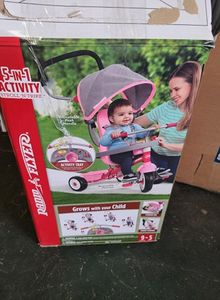 Radio Flyer, 5-in-1 Stroll 'N Trike with Activity Tray, Pink & Gray