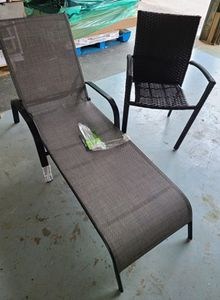 Oakland Living Cascade Aluminum Fold-able Outdoor Chaise Lounge and Outdoor Wicker Armed Dining Chair - Slightly damaged