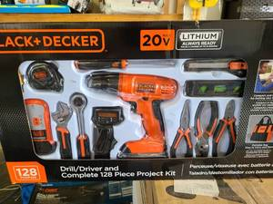 BLACK+DECKER 20-Volt Lithium-Ion Cordless Drill-Driver With 128-Piece Project Ki