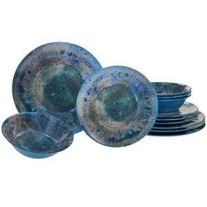Radiance 12-Piece Casual Teal Melamine Outdoor Dinnerware Set
