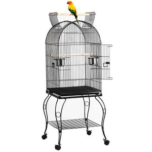 Yaheetech Large Rolling Metal Bird Cage w/ Open Playtop, Stand & Perch for Parrot, Cockatiel, Canary & Finch